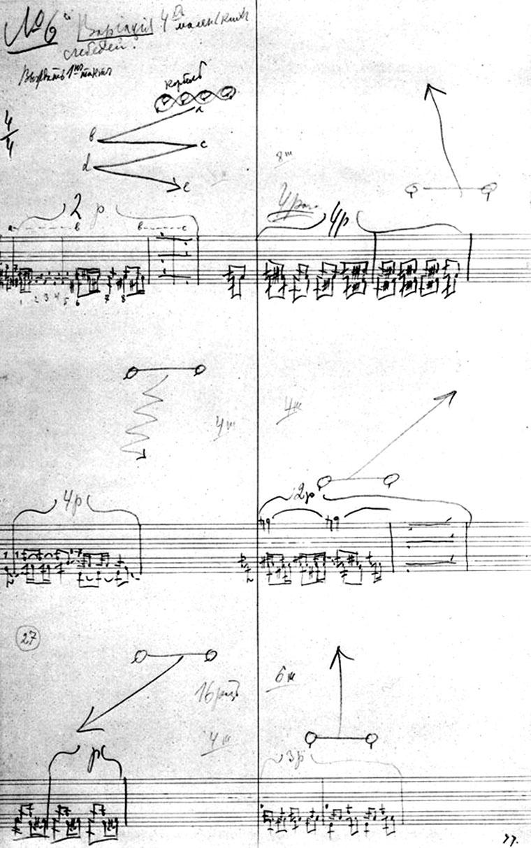Eine Seite der Notation der Schwanensee-Choreographie